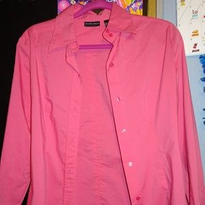 Pink New York & Company Stretch Button Down